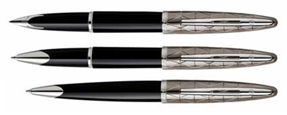 ... Picture 3 of 4; Picture 4 of 4. Waterman Carene Fountain Pen, Deluxe  Black & Silver ...
