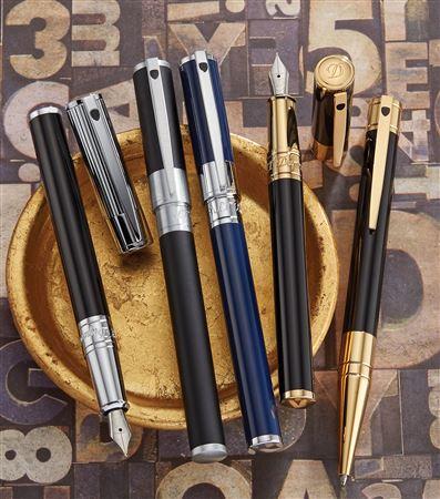 NEW ST Dupont D Initial Black /& Chrome Roller Ball Pen 262200