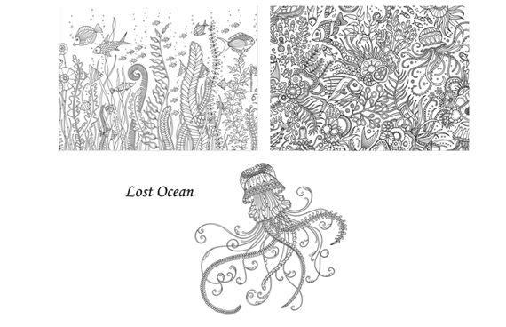 johanna basford lost ocean coloring postcards 1 - Ocean Coloring Book