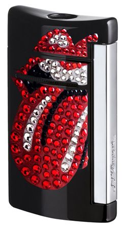 Dupont Rolling Stones Black Minijet Lighter with Crystals