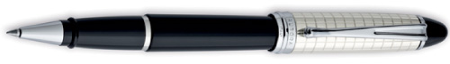 Aurora Ipsilon Sterling and Black Quadra Rollerball