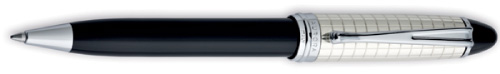 Aurora Ipsilon Sterling and Black Quadra Ballpoint Pen