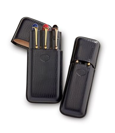 Aurora Rigid 2 Slot Black Leather Pen Case