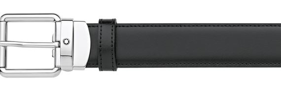 Montblanc Rounded Square Pin Buckle Reversible Leather Belt - Black/Brown