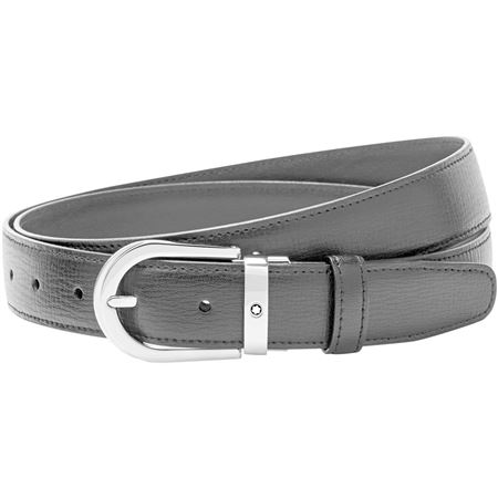 Montblanc Men's Horseshoe Calfskin Leather Belt - Black