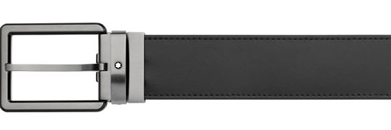 Montblanc Black Matte Stainless Steel Pin Buckle Leather Belt - Black