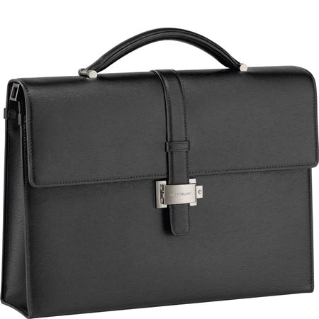 Montblanc 4810 Westside Leather Single Gusset Briefcase - Black