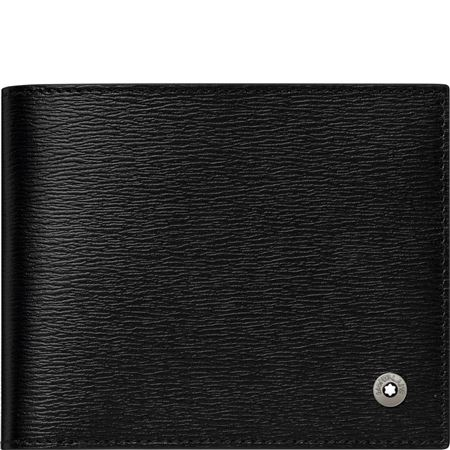 Montblanc Leather Wallet w/Money Clip 6cc - Black