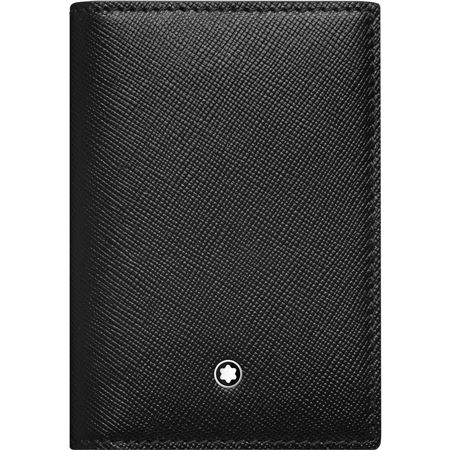 montblanc sartorial black leather business card holder with gusset - Mont Blanc Card Holder