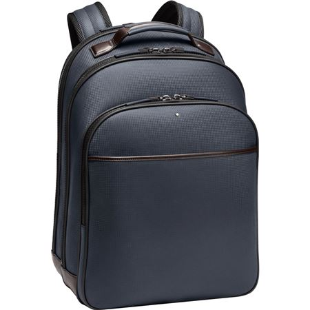 Montblanc Leather Large Backpack - Blue/Brown