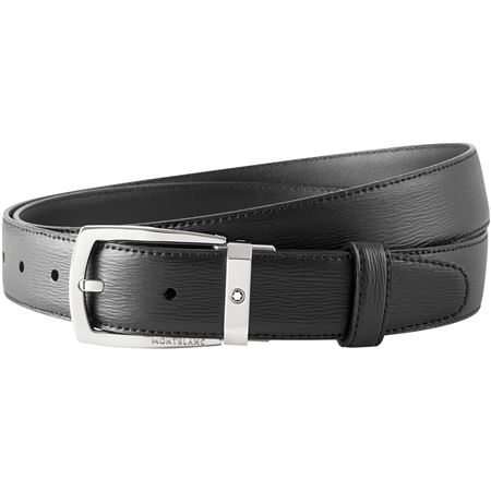 Montblanc 4810 Westside Trapeze Leather Belt - Black