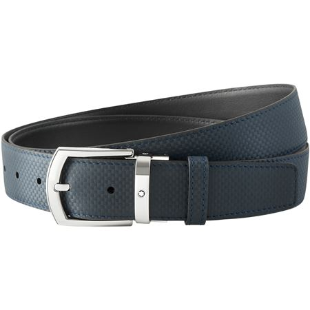 Montblanc Curved Rectangular Pin Buckle Leather Belt - Extreme Blue