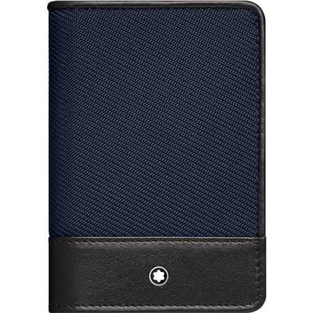 Montblanc Nightflight Black Leather & Blue Nylon Business Card Holder