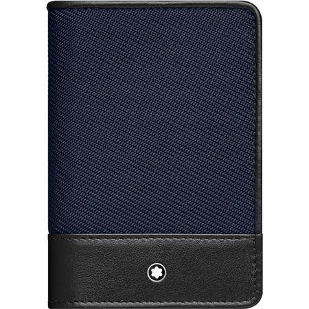 Montblanc nightflight black leather blue nylon business card holder colourmoves