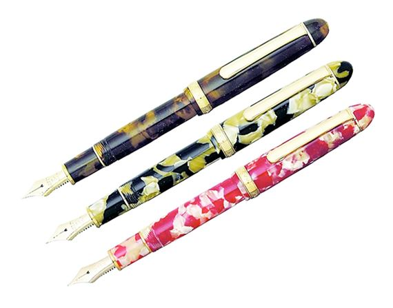 Platinum Celluloid Fountain Pen With Gold Trim