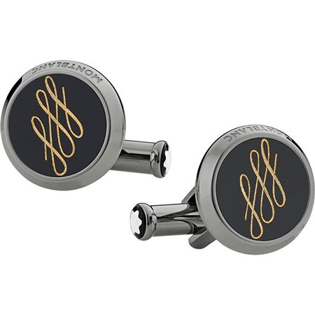 Montblanc Black Calligraphy Design Cufflinks