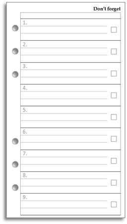 Filofax Personal Don't Forget Sheets