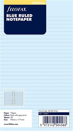 Filofax Personal Ruled Blue Sheets