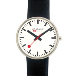 Mondaine Giant Mens Watch Black Leather Band