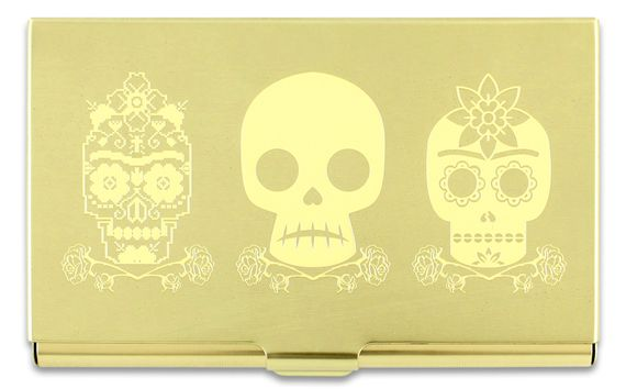 ACME Frida Kahlo Inspired 3 Skulls Etched Card Case