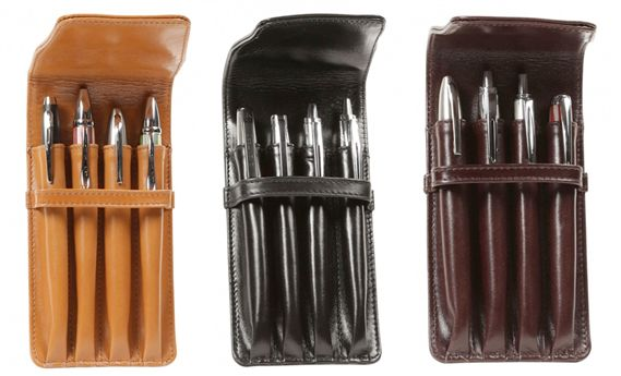 Aston Leather Quad Flap Soft Pen Pouch