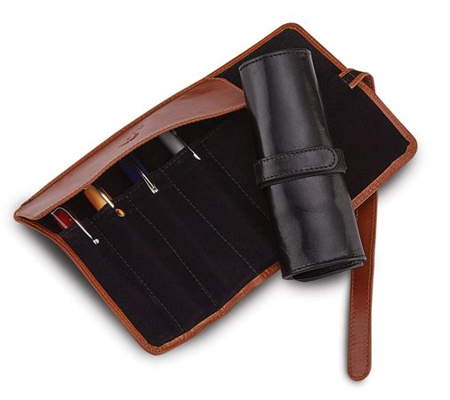 Aston Leather 5 Pen Roll Up Case