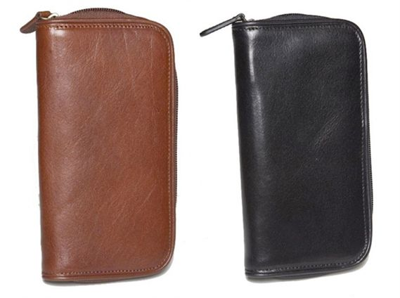 Aston Leather Zippered 2 Pen Case
