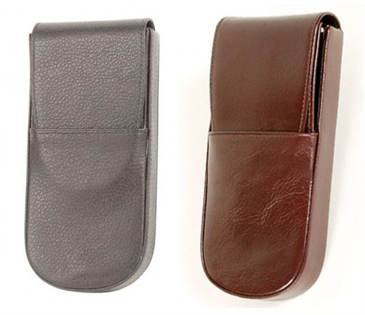 Aston Leather Hard Triple Slot Pen Pouch With Front Flap