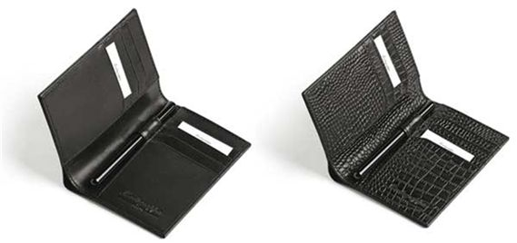Montegrappa NeroUno Black Leather Card and Pen Holder Wallet