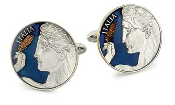 Silver Star Italy Michelangelo's David Coin Cufflinks