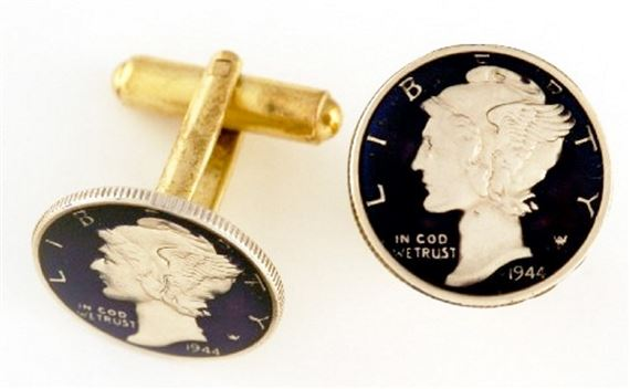 Silver Star USA Mercury Dime Coin Cufflinks