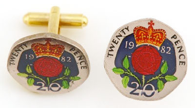 Silver Star England Rose 20 Pence Coin Cufflinks