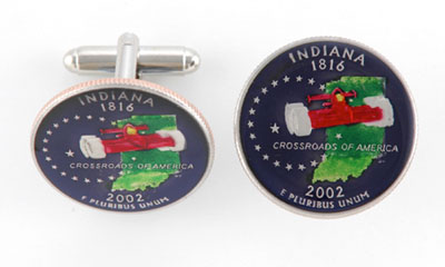 Silver Star USA State Quarter Coin Cufflinks