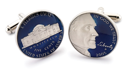 Silver Star Thomas Jefferson Liberty USA Nickel Coin Cufflinks