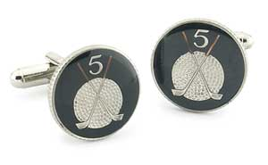 Silver Star Isle of Man Golf Ball and Clubs Coin Cufflinks
