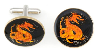 Silver Star China Red Dragon Coin Cufflinks