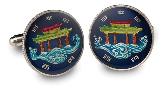Silver Star China Green Dragon Coin Cufflinks