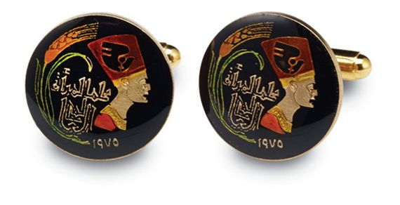 Silver Star Egypt Nefertiti Coin Cufflinks