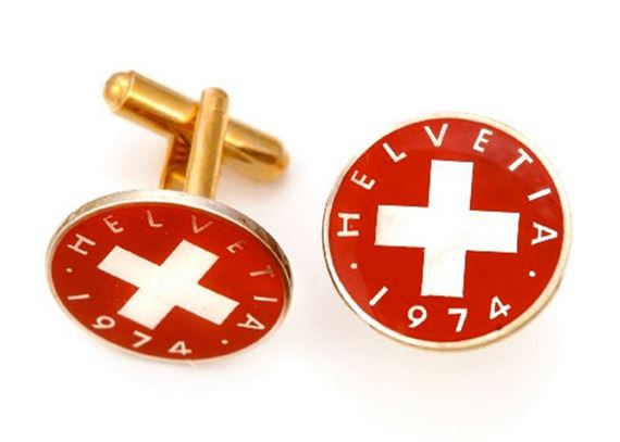 Silver Star Swiss Cross Coin Cufflinks