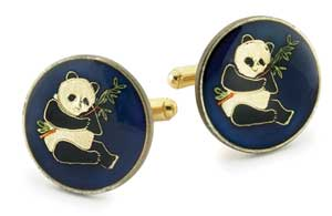Silver Star China Panda Coin Cufflinks