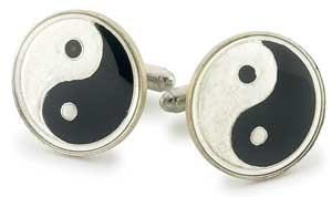 Silver Star China Yin Yang Coin Cufflinks