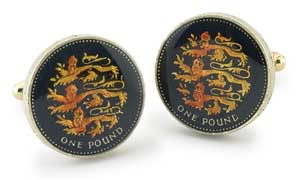 Silver Star England Pound Three Lions Coin Cufflinks
