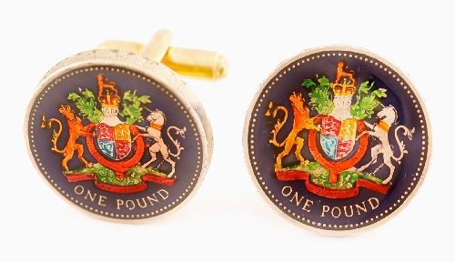 Silver Star England Pound Unicorn Coin Cufflinks