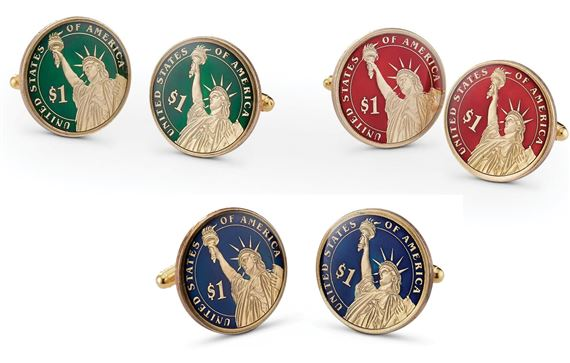 Silver Star Liberty Dollar Cufflinks