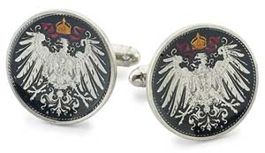 Silver Star Germany Mark Eagle Coin Cufflinks