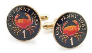 Silver Star Guernsey Crab Penny Coin Cufflinks