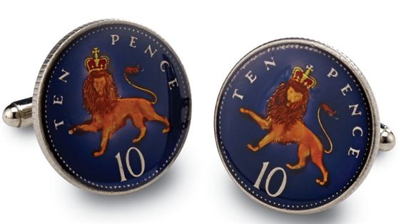 Silver Star English Lion 10 Pence Coin Cufflinks