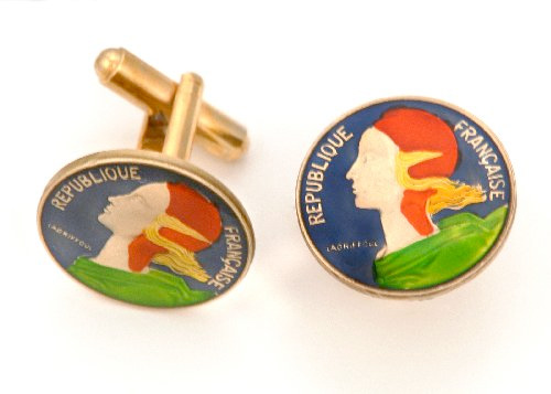 Silver Star French 20 Centimes Female Head Coin Cufflinks