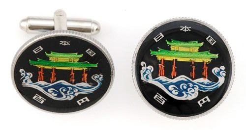 Silver Star Japanese 100 Yen Temple Coin Cufflinks