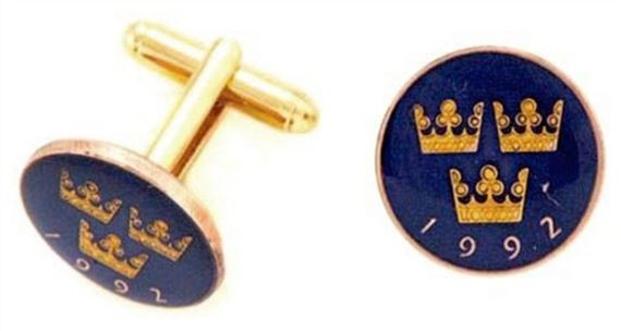 Silver Star Sweden Crown Coin Cufflinks